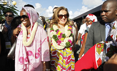 Valerie Trierweiler,  companion of Francois Hollande, Socialist party candidate for the 2012 French presidential election, arrives at the airport in Dzaoudzi on the Indian Ocean island of Mayotte