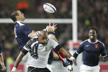France's Traille challenges Fiji's Saukawa during their friendly international rugby union match at the La Beaujoire's stadium in Nantes