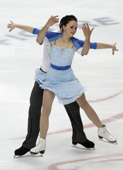 Cappellini and Lanotte of Italy perform during the ice dance free dance competition at the ISU World Figure Skating Championships in Moscow
