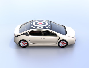 Side view of electric car with graphic pattern on the roof. 3D rendering image.