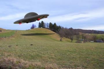 In de dag UFO An unidentified flying object (ufo 3d rendering)