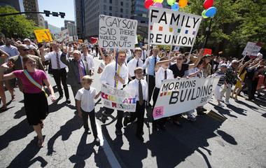 Members of the Mormon church march in a gay pride parade in Salt Lake City, Utah