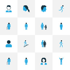Person Colorful Icons Set. Collection Of Worker, Child, Jogging And Other Elements. Also Includes Symbols Such As Data, Old, Businessman.