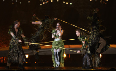 Pelakova from Slovakia performs her song Horehronie during a rehearsal for the Eurovision Song Contest in Oslo