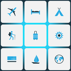 Journey Colorful Icons Set. Collection Of Sun, Tourist, Bed And Other Elements. Also Includes Symbols Such As Aircraft, Tourist, Ship.