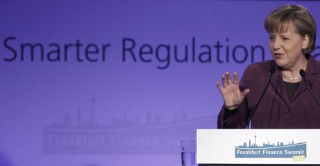 German Chancellor Merkel speaks during the Frankfurt Finance Summit 2011 in Frankfurt