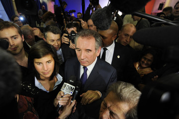 Francois Bayrou, French Centrist MoDem party leader, leaves after a news conference to announce his candidacy for the 2012 presidential election in Paris