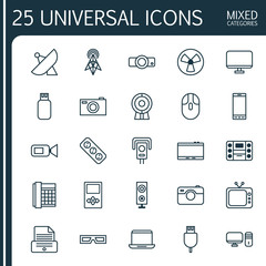 Device Icons Set. Collection Of Boombox, Player, Telephone And Other Elements. Also Includes Symbols Such As Camcorder, Fan, Control.