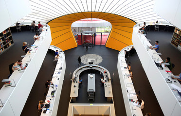 """Students sit in the philological library at the university """"Freie Universitaet Berlin"""" in Berlin"""