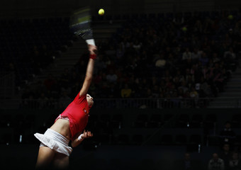 Sadikovic of Switzerland serves to Gajdosova of Australia during their Fed Cup tennis match in Fribourg