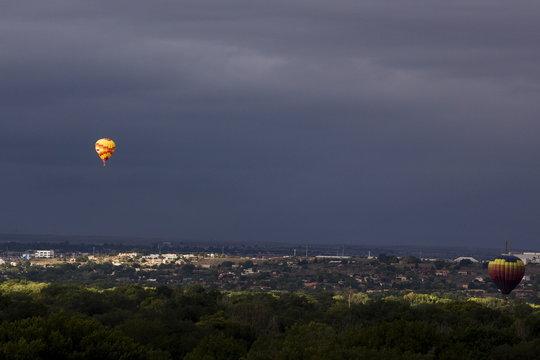 Hot air balloons float during the 2015 Albuquerque International Balloon Fiesta in Albuquerque, New Mexico