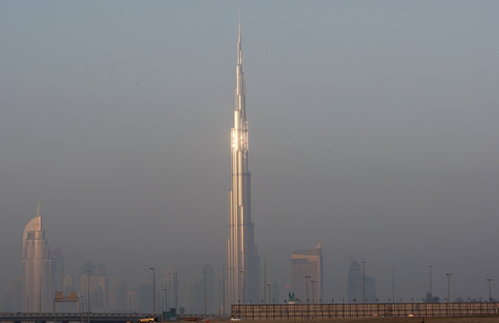 The skyline of Dubai shows the Burj Dubai Tower, the tallest tower in the world