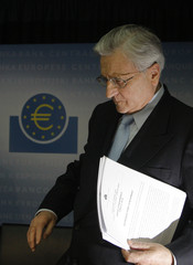 Trichet President of the European Central Bank ECB arrives for his monthly news conference at the ECB headquarters in Frankfurt