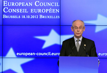 European Council President Herman Van Rompuy speaks at a news conference at the end of the first session of a two-day European Union leaders summit in Brussels