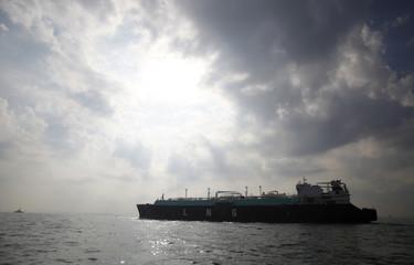 A LNG carrying vessel sails at Tokyo Bay, offshore of Yokosuka, Japan