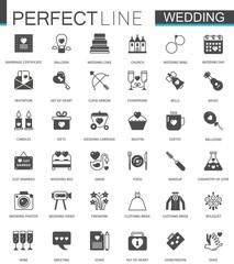 Black classic web Wedding marriage icons set.