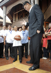 Philippine Vice President Binay looks up as he talks to visiting Yao, during his visit at Coconut Palace in Manila