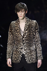 A model presents a creation from the Gucci Fall/Winter 2010/11 Men's collection during Milan Fashion Week