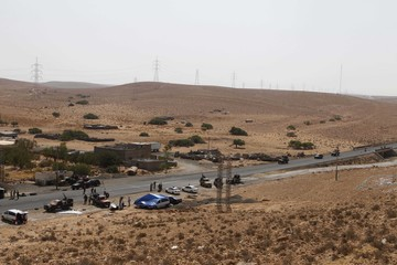 A general view shows the Al-malti check point on the outskirts of the town of Bani Walid