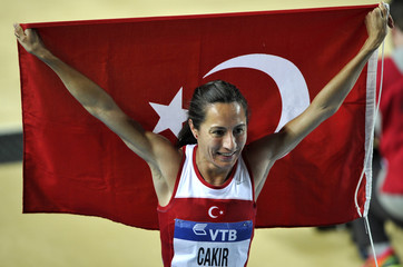 Selsouli of Morocco celebrates her silver medal in the women's 1500 metres final during the world indoor athletics championships at the Atakoy Athletics