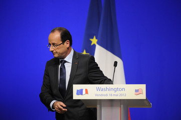 France's President Hollande leaves after speaking to French citizens living abroad at the French Embassy in Washington, DC