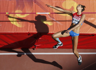 Vlasic of Croatia competes in the women's high jump qualifying round during the 15th IAAF World Championships at the National Stadium in Beijing