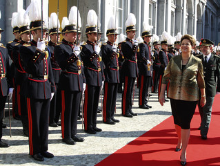 Brazil's President Rousseff reviews an honour guard during welcoming ceremony with Belgium's PM Leterme at Egmont Palace in Brussels