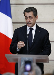 France's President Nicolas Sarkozy delivers a speech as he receives representatives of the Armenian community in France, at the Elysee Palace in Paris