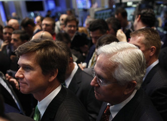 Green, founder of Greenway Medical Technologies, watches the company's Initial Public Offering with his son at the NY Stock Exchange