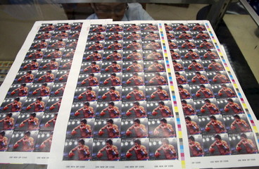 """Limited copies of """"Fight of the Century"""" postage stamps of WBC boxer Manny Pacquiao are on display inside the main post office in Manila"""