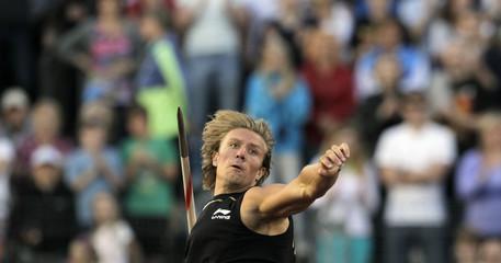 Norway's Thorkildsen competes in the men's javelin throw event at the IAAF World Challenge Ostrava Golden Spike meeting in Ostrava