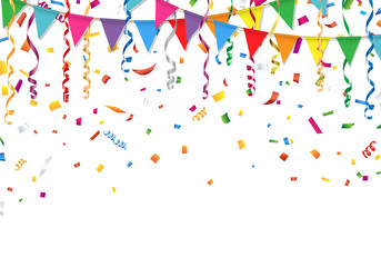 Party flags with confetti and streamer. Vector