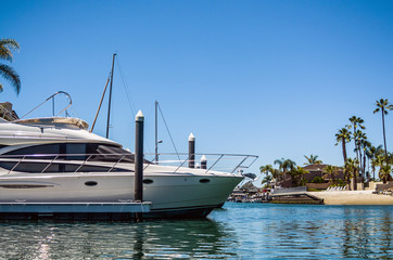 Detail of a Luxurious Yacht in Newport Beach Harbor against a clear blue sky