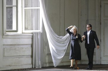 Singers Schrott and Petersen perform on stage during a dress rehearsal of Wolfgang Amadeus Mozart's opera 'Le nozze di Figaro' in Salzburg