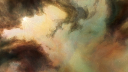 Nebula Clouds - Gold A magnificent display of nebula clouds in swirling golds with touches of green and fire red.