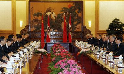 Austria's President Heinz Fischer attends a bilateral meeting with China's President Hu Jintao at the Great Hall of the People in Beijing