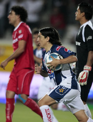 Pachuca striker Manso celebrates after scoring against Toluca during their Mexican league championship match in Pachuca City