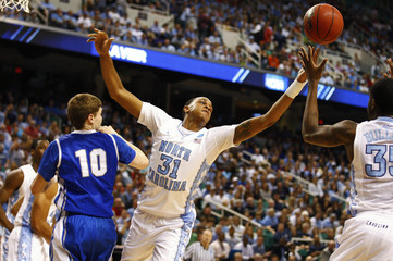 North Carolina Henson works for a rebound against the Creighton during a college basketball game in Greensboro