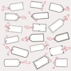 Hand drawn, cute gift labels or price tags with pink bow