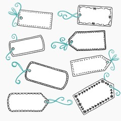 Hand drawn, cute gift labels or price tags with blue bow
