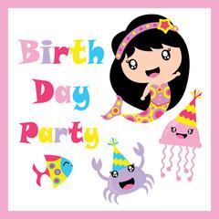 Cute mermaid, jelly fish, fish and crab vector cartoon, Birthday postcard, wallpaper, and greeting card, T-shirt design for kids