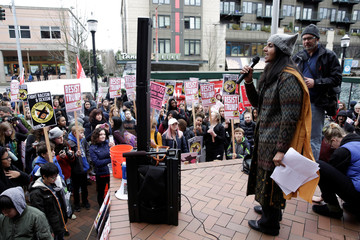 Socialist Seattle City Councilwoman Kshama Sawant speaks at student walk-out rally in protest to U.S. President Donald Trump's inauguration in Seattle