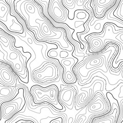 Seamless pattern. Fictional topo contour map design. Vector. Geography concept. Abstract wavy graphic backdrop. Cartography and topology. Line topographic contour map background. Black and white.