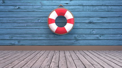 Lifebuoy on blue wooden wall. Concept of summer vacation and outdoor sports recreational activities. 3d render picture.