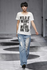 A model presents a creation by Cheap Monday during the 2013 Spring/Summer show at Shanghai Fashion Week