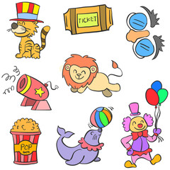 Doodle element circus colorful