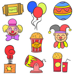 Hand draw colorful circus doodle set