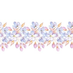 Hand drawn watercolor floral seamless pattern. Background with flowers 2