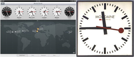 Combo photo of Swiss railway clock and clocks on Apple iPad with the latest operating system