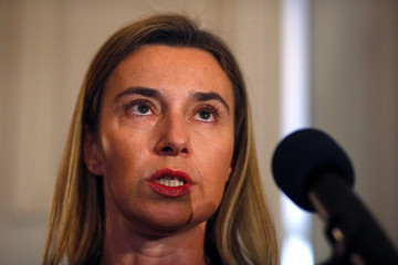 The European Union's foreign policy chief Mogherini addresses to media after the meeting of the Quartet of Middle East peace mediators during the 51st Munich Security Conference in Munich